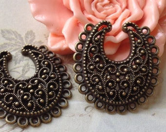 26 x 28 mm Antiqued Bronze (One-Sided) Thick Filigree Base Setting/Connector (.cm).