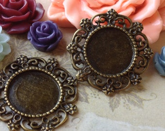 26 mm (fit 14 mm buttons) Antiqued Bronze Filigree Charm Base Setting / Pendant (.tii).