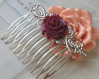 48 x 53 mm Handmade Silver Hair Comb With 21 mm Cabbage Rose Resin Cabochon