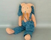 Easter Bunny Rabbit-Knitted Orange Boy Bunny-Stuffed Animal Doll-Easter Basket Toy-Softie-Childrens Gift Idea-Girls Boys-Turquoise-Sale Item