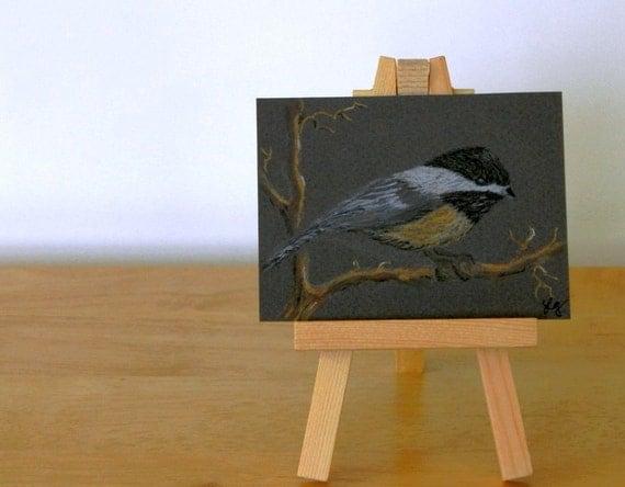 BIRD DRAWING Original Colored Pencil Chickadee ACEO, Miniature Nature Art