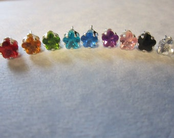 The Colored Crystal Flower Stud Earrings