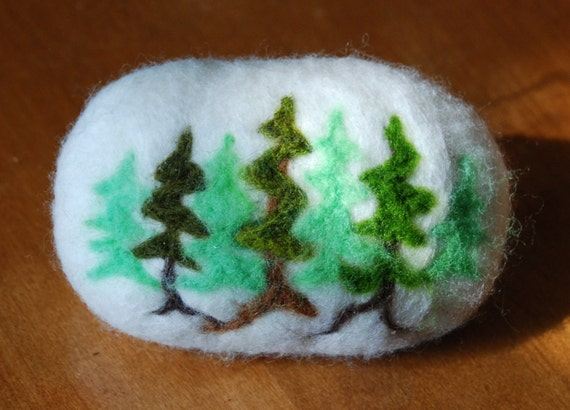 Felted Soap Pine Forrest Alpine Pine Trees. Christmas Gift