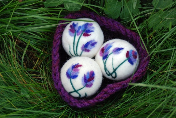 Lavender Sachets, Lavender Infused Sachet, Set Of 3 Wool Felted Balls In Crocheted Basket, Home Decor