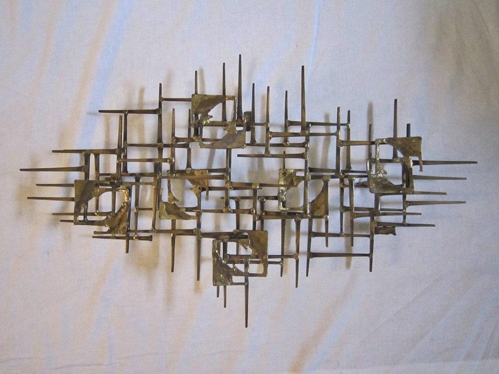 mid century brutalist wall sculpture eames era. Black Bedroom Furniture Sets. Home Design Ideas
