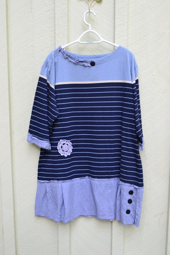 Navy Anchor / Upcycled / Dress-Tunic / 2X/ One of a kind by Dvoika