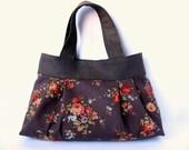 SALE Shoulder bag Dark brown Retro Shabby chic Roses Sky blue Pleated bag Autumn Fall
