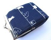 Credit card wallet Indigo Navy blue kawaii japanese cats Business card case Frame purse