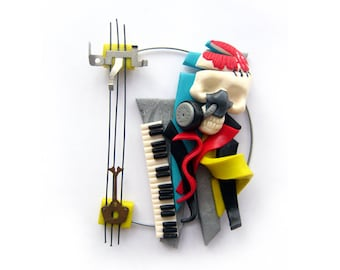 Unusual surreal polymer clay brooch - Death Sonata - ready to ship