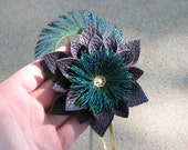 Purple Leather Flower Headband with Peacock Sword Feathers and Gold Filigree Accent piece with Pearl