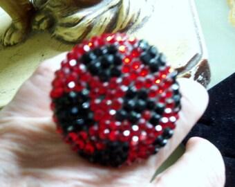Huge Red and Black Rhinestone Ring