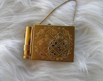 Vintage Compact with Lipstick, Dance Purse,
