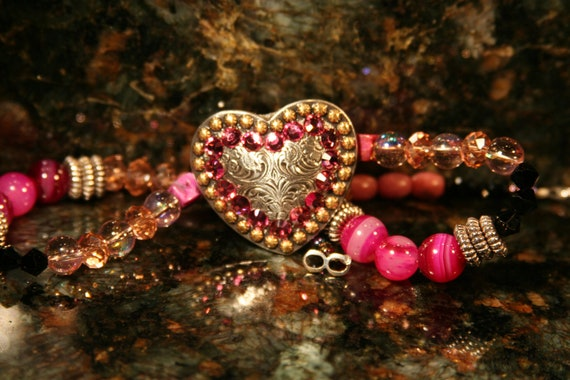 Heart Concho Necklace Pink Rodeo Western Jewelry Swarovski Handmade Gift For Her Rodeo Necklace Western Jewelry Cowgirl Style