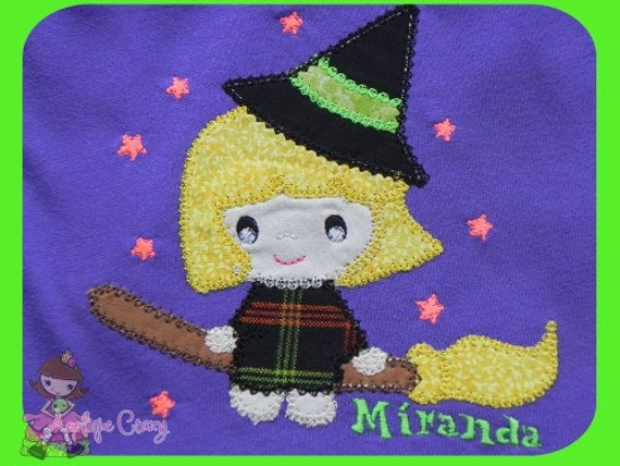 Lil Witch vintage stitch Applique design