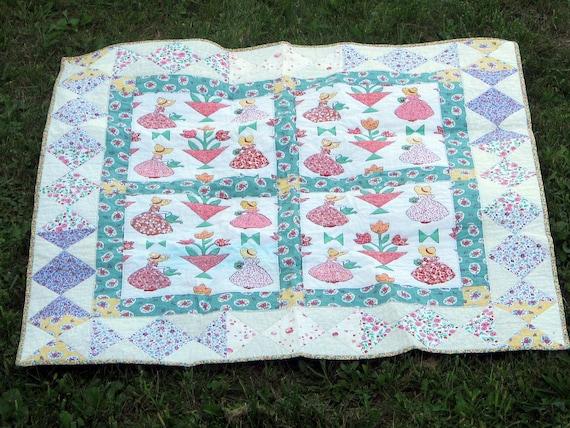 Sun Bonnet Sue Lap Quilt 47 x 47 Inches