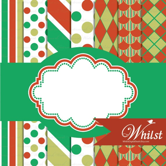 Red green Christmas digital paper and frame clip art : p0220 3s021220 IP