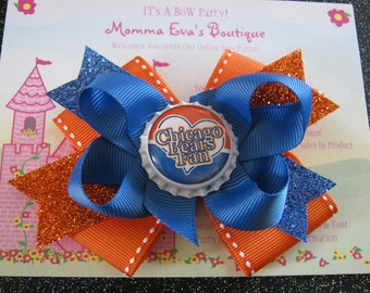 Momma Eva's -- Bears Fan Inspired Sparkling Layered Boutique  Hair Bow Design //  5 inch Design // Ready To Ship