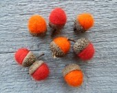 Felted Acorns Red and Orange