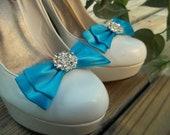 Malibu Blue Bridal Shoe Clips -  Rhinestone Shoe Clips, Satin Shoe Clips, Shoe Clips
