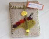 Wool Felted Pouch - Needlefelted Caterpillar