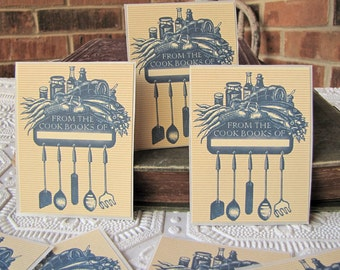 PERSONALIZED Bookplate Stickers - Vintage Inspired - Cookbook- Utensils