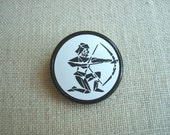 Vintage Sagittarius Czech glass button, zodiac sign November December