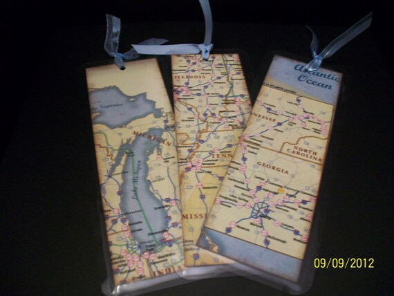 Items Similar To Map Bookmark You Are Here Bookmark Upcycled Bookmark Destination Wedding