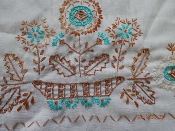 Hand Embroidered Floral Pillow Case, Standard Pillow Case, Turquoise, Aztec,Navaho, Embroidered Pillow Case with a lovely Flower design