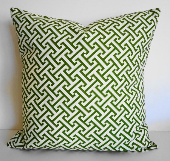 Green Greek Key Decorative Pillow Cover Chartreuse Green