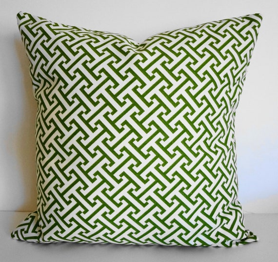 Key Decorative Pillow : Green Greek Key Decorative Pillow Cover Chartreuse Green