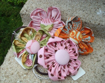 Cotton flower ponytail holder