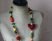 Colourful wooden and felted bead necklace - handmade felted heart, wooden beads