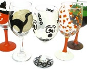 RESERVED FOR RACHAEL  - Halloween Sale  40% Off - Wine Glasses - Ready to Ship