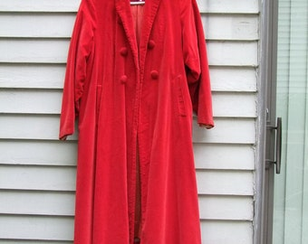Vintage red Velveteen Swing Coat ala 1940s must see hat listed separately