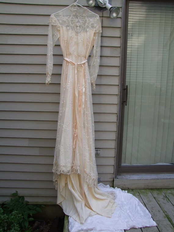 Vintage Wedding Gown with lace and seed pearls ala 1970s
