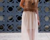 Pink Pastel Semi-Transparent Pleated Maxi-Mini Skirt