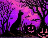 Black Cat & Jackolanterns Altered Painting Photographic  Print 8x10 Halloween Art Purple Pink Sky Spooky Trees Birds Flying by K Graham