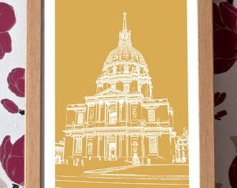 Palace des Invalides Poster – Paris Icons Custom Colour A3 Travel Print