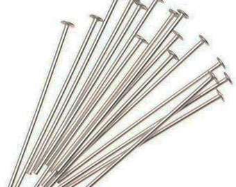 150pcs Silver Plated Headpins Head Pins Jewelry Findings 36mm