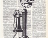 Dictionary Art Print - Upcycled Vintage Paper - Vintage Candlestick Phone Print - 7-3/4 x 10-3/4