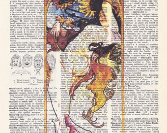 Alphonse Mucha Print - Summer - Dictionary Art Print - Upcycled Vintage Paper -  7-3/4 x 10-3/4