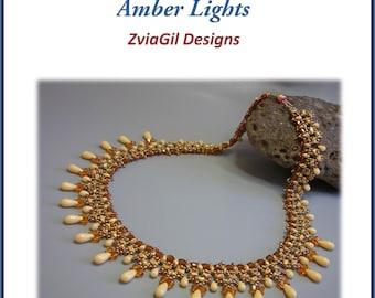 Tutorial - Amber lights-  superduo necklace beading tutorial
