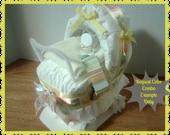 Diaper Cake - Diaper Carriage - Baby Shower Gift - Baby Shower Centerpiece - Gender Neutral