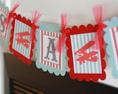 "Vintage Red Blue Stripe Airplane ""It's a Boy"" Baby Shower Banner - Ask About our Party Pack Special - Free Ship Over 65.00"