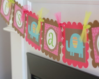 """Mod Jungle Zoo Elephant, Lion, Bird or Giraffe Hot Pink and Brown Baby Shower """"It's A Girl"""" OR Custom Name Banner"""
