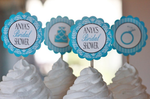 12 - Turquoise Blue Bridal Shower Cupcake Toppers - Ask About our Party Pack Sale - Free Ship Over 65.00