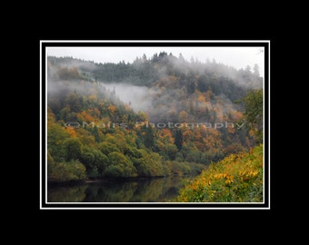 Nature Mist Reflections Trees River Fog Oregon Fall Color, Home Decor, Original Photograph, Fine Art Photography signed matted 5x7 print