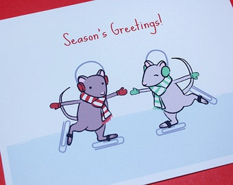 Mouse Christmas Card Set - Ice Skating Mice Holiday Cards  (Set of 6)