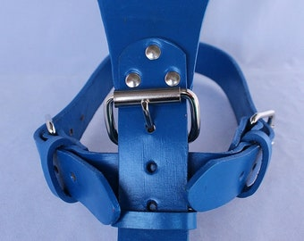 Blue Large Leather Dog Harness