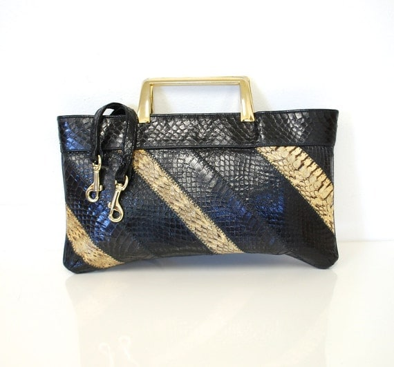 Vintage 70s Snakeskin Patchwork Leather Mini Briefcase by Caprice